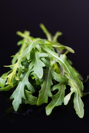 rocket lettuce: Fresh rucola salad or rocket lettuce leaves on black background