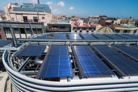 Solar water heater on roof in Barcelona Spain photo