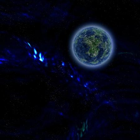 Blue planet on dark sky background Stock Photo - 17308345