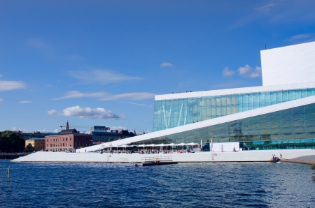 OSLO - AUGUST 11: People rest in front of the Oslo Opera House on August 11, 2012 in Oslo, Norway. The Oslo Opera House is the home of The Norwegian National Opera and Ballet, and the National Opera Theatre.