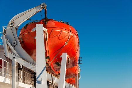Lifeboat on a cruise ship close up photo