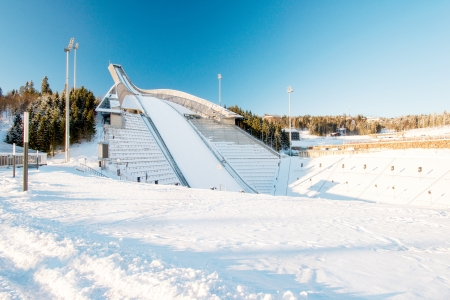 OSLO - FEBRUARY 2: Holmenkollbakken is large ski jumping hill located in Oslo, Norway. It has hill size of HS134 and a capacity for 30,000 spectators. Pictured on February 2, 2013. Editorial