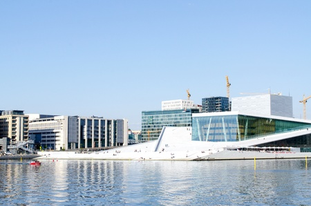 OSLO, NORWAY - MAY 22: View on a side of the National Oslo Opera House on May 22, 2012 in Oslo, Norway, which was opened on April 12, 2008.