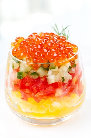 appetiser: Appetiser with red caviar Stock Photo