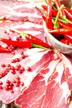 cured: Cured meat with chilli pepper