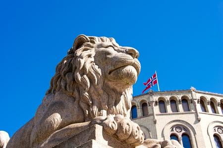 Lion statue near Norwegian parliament Storting Oslo, Norway Stock Photo
