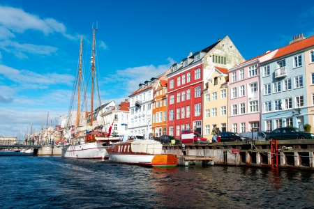 Scenic view of colour buildings of Nyhavn in Copenhagen, Denmark