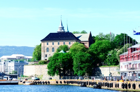 OSLO, NORWAY - MAY 26  Akershus Fortress  Akershus Festning  or Akershus Castle  Akershus slott  is a medieval castle that was built to protect Oslo pictured on May 26, 2012  Construction on the castle started around the late 1290s