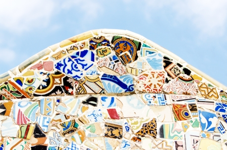 trencadi: Detailed fragment of ceramic wall at Park Guell, Barcelona Spain Stock Photo