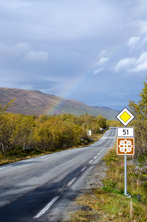 Rainbow on scenic road 51 in Norway photo