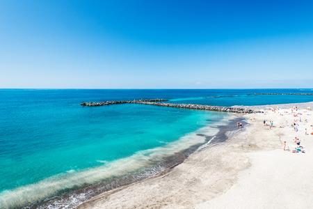 adeje: Beautiful sea water of tropical El Duque beach, Tenerife, Canary islands, Spain