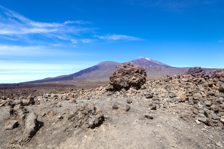 garcia: View on volcano Teide (right) and mountain Garcia (left) at Tenerife Island, Spain Stock Photo