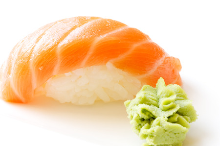 Sushi isolated in white with wasabi photo