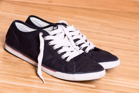Blue sneakers on wooden floor photo