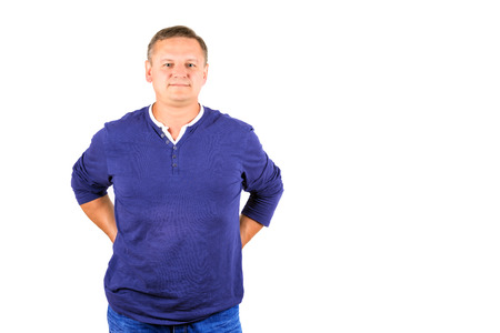 casually: Casually dressed middle aged man isolated on white.