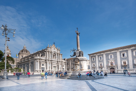 CATANIA, ITALY - APRIL 4: Piazza del Duomo in Catania with Cathedral of Santa Agatha on April 4, 2014 in Catania, Sicily, Italy. Catania founded in the 8th century BC Editöryel