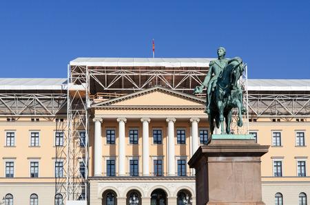 det: Royal Palace (Det kongelige slott) and Statue of Norwegian King Carl Johan XIV  Oslo, Norway Editorial