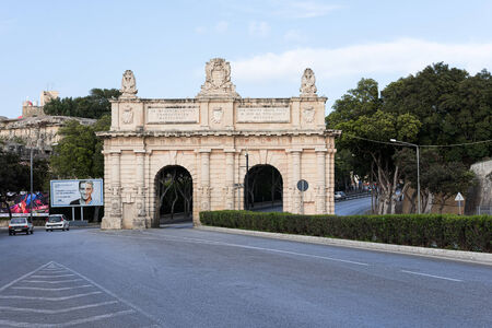 VALLETTA, MALTA - APRIL 13: Floriana Gate to Valletta, Malta on April 13, 2014. Were built in the 17th century during the reign of Grand Master Antoine de Paule