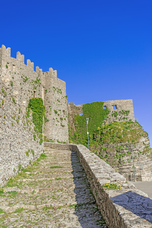 erice: Panoramic view of ancient fortresses of Erice town, Sicily, Italy Stock Photo