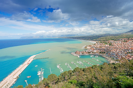 Aerial view of Castellamare del Golfo in Sicily, Italy photo