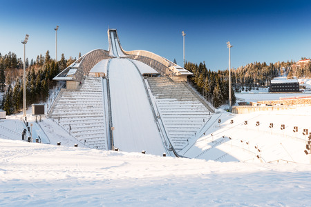 ski jump: New Holmenkollen ski jump in Oslo Norway Stock Photo