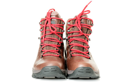 hiking boot: A pair of new hiking boots on white background