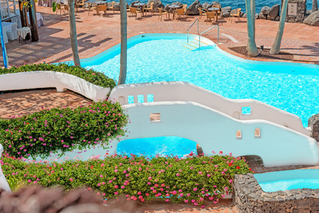 forsale: View at pool on tropical island Editorial