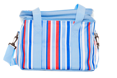 Striped red blue and white lunch pack carrier on a white background photo