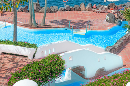 forsale: View at pool on tropical island Stock Photo