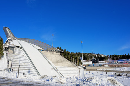 ski jump: New Holmenkollen ski jump in Oslo Norway at sunny winter day Stock Photo