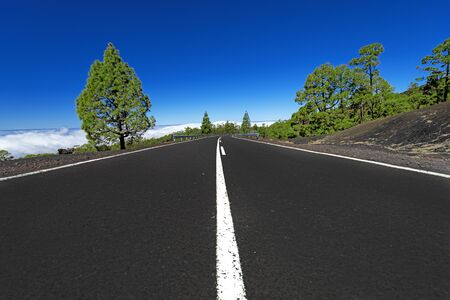business metaphore: Asphalt road in mountains above clouds