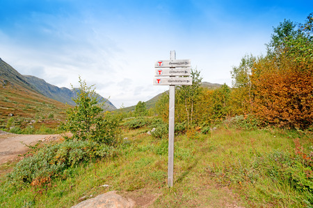 wooden trail sign: Wooden trail sign at Jotunheimen National Park, Norway