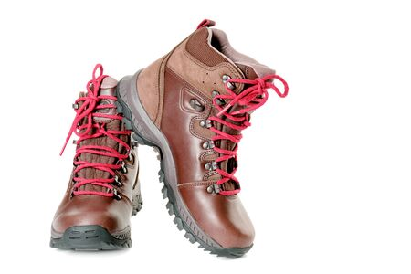 hiking: A pair of hiking boots. Isolated on white background Stock Photo