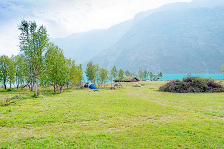 Camping tents in the Jotunheimen mountains in Norways Jotunheimen National Park Stock Photo