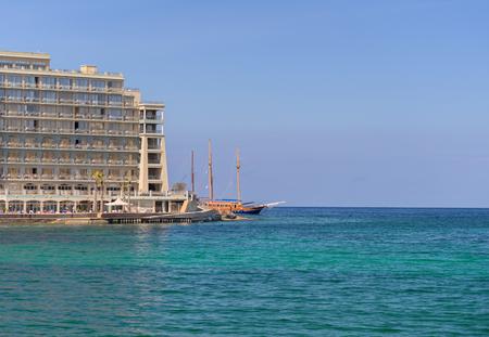 julian: Tall ship entering St. Julians Bay at Malta