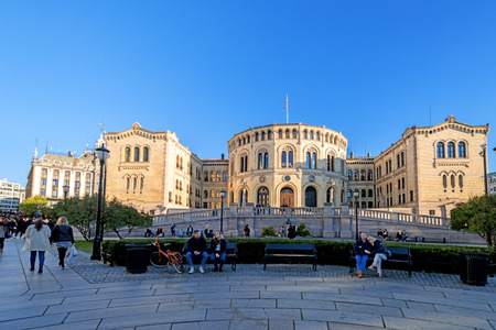 legislature: OSLO, NORWAY - OCTOBER 12: Stortinget, Norwegian parliament facade on October 12, 2013 in Oslo, Norway. The building was designed by the Swedish architect Emil Victor Langlet and has been used by legislature since March 5, 1866.