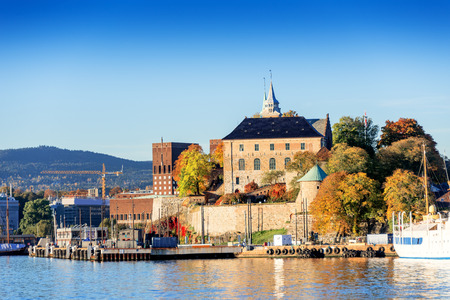 Akershus Fortress at sunset on autumn day, Oslo, Norway