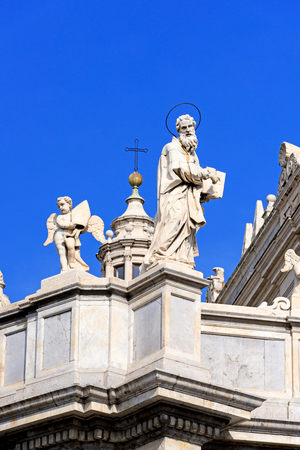 catania: Piazza del Duomo in Catania and the Cathedral of Santa Agatha in Catania in Sicily, Italy