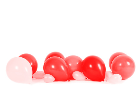 ballon: Colourful balloons isolated on white with copy space Stock Photo