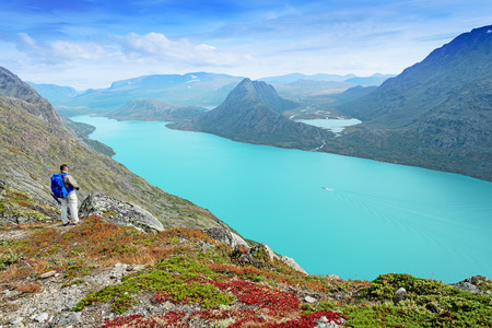 jotunheimen national park: Backpacker at Besseggen ridge at Jotunheimen national park, Norway