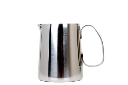 cold steel: Stainless Steel Milk Boiler Jug isolated on white background Stock Photo