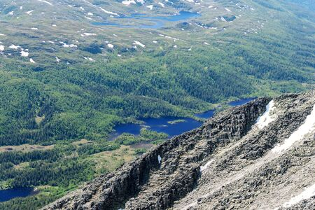 vastness: Panoramic view from Gaustatoppen mountain at sunny summer day, Telemark, Norway