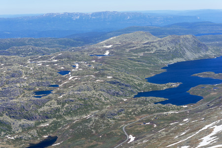 meagre: Panoramic view from Gaustatoppen mountain at sunny summer day, Telemark, Norway