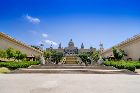 montjuic: Barcelona, Spain - July 19, 2012: Catalonian national museum MNAC on Montjuic mountain in Barcelona Editorial