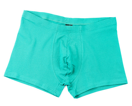 briefs: Green mens Boxer briefs isolated on a white background