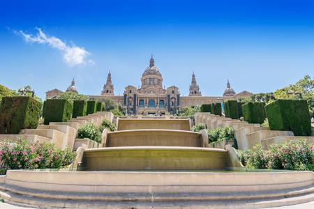 montjuic: Catalonian national museum MNAC on Montjuic mountain in Barcelona