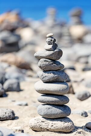 complied: Rocks Stacked Close Up on sea coast