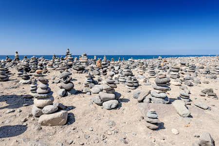 complied: Rocks Stacked Close Up on sea coast