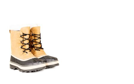 unisex: Unisex winter high boots isolated on white with copy space