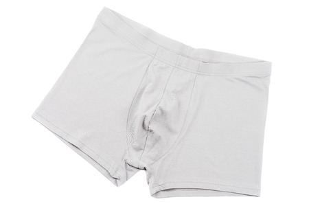 scrotum: Grey mens Boxer briefs isolated on a white background Stock Photo